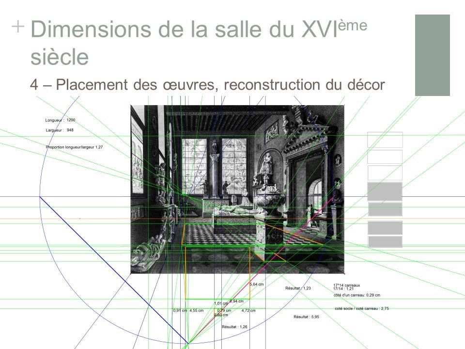 + Dimensions de la salle du XVI ème siècle 4 – Placement des œuvres, reconstruction du décor Gravure de Réville et Lavallée