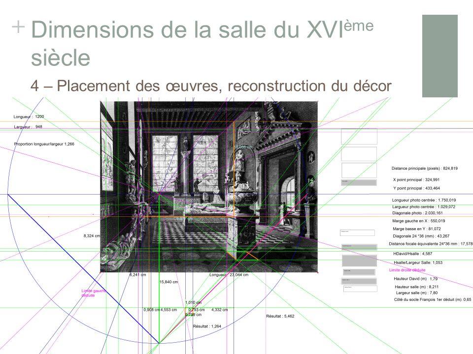 + Dimensions de la salle du XVI ème siècle Gravure de Réville et Lavallée 4 – Placement des œuvres, reconstruction du décor