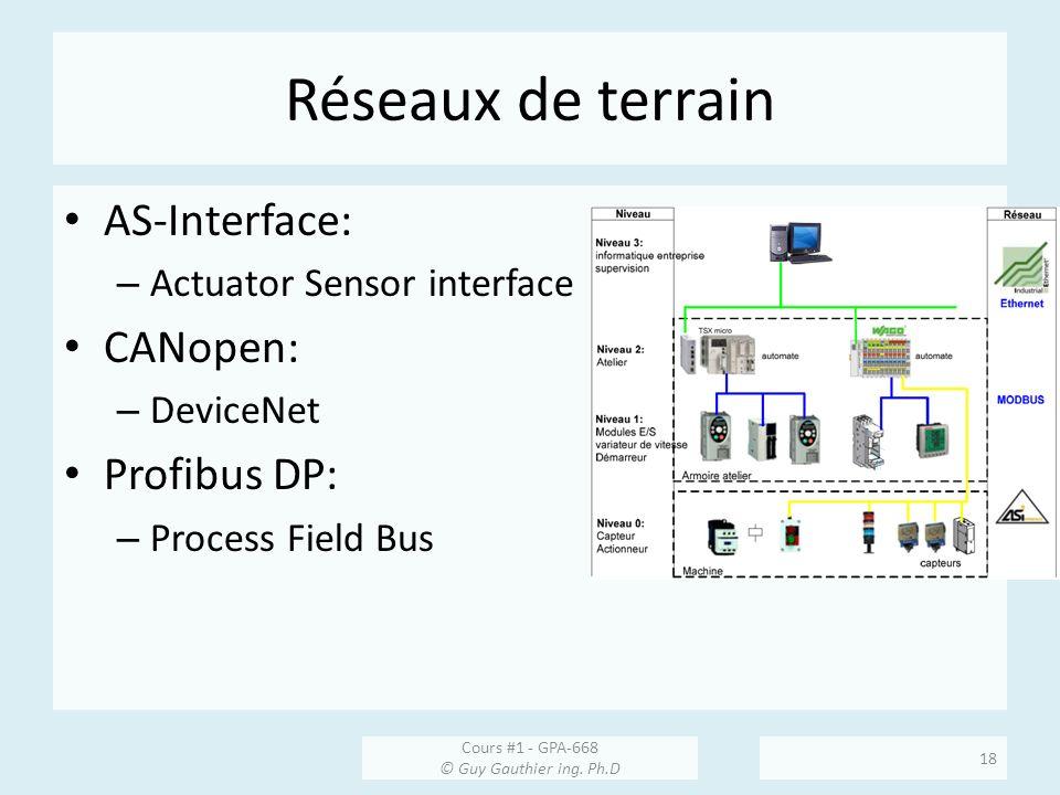 Réseaux de terrain AS-Interface: – Actuator Sensor interface CANopen: – DeviceNet Profibus DP: – Process Field Bus Cours #1 - GPA-668 © Guy Gauthier i