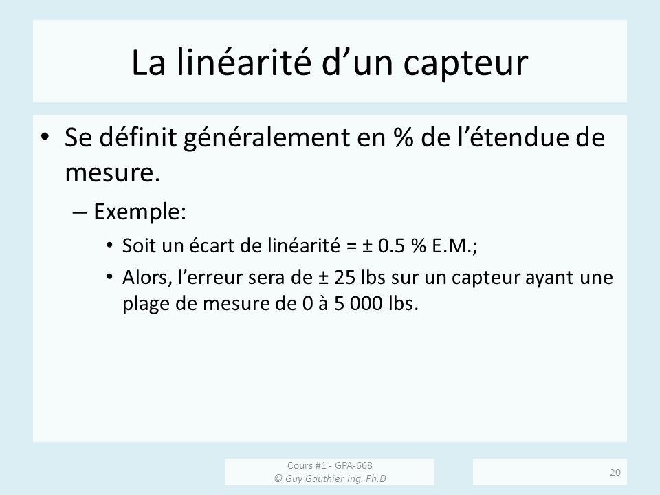 La linéarité dun capteur Se définit généralement en % de létendue de mesure. – Exemple: Soit un écart de linéarité = ± 0.5 % E.M.; Alors, lerreur sera