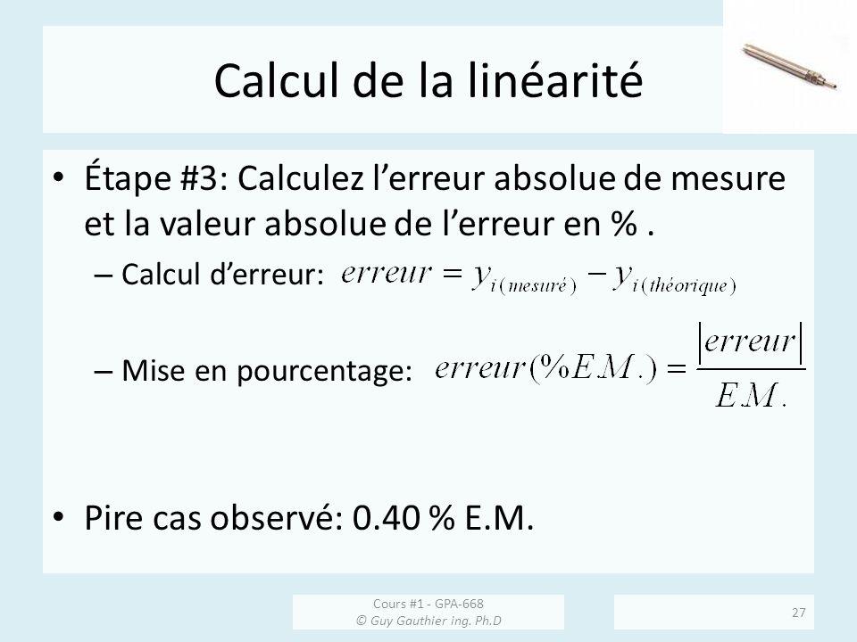 Calcul de la linéarité Étape #3: Calculez lerreur absolue de mesure et la valeur absolue de lerreur en %. – Calcul derreur: – Mise en pourcentage: Pir