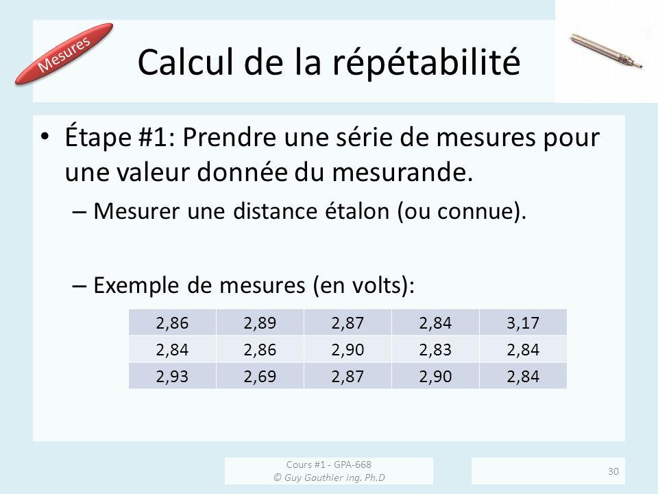 Calcul de la répétabilité Étape #1: Prendre une série de mesures pour une valeur donnée du mesurande. – Mesurer une distance étalon (ou connue). – Exe