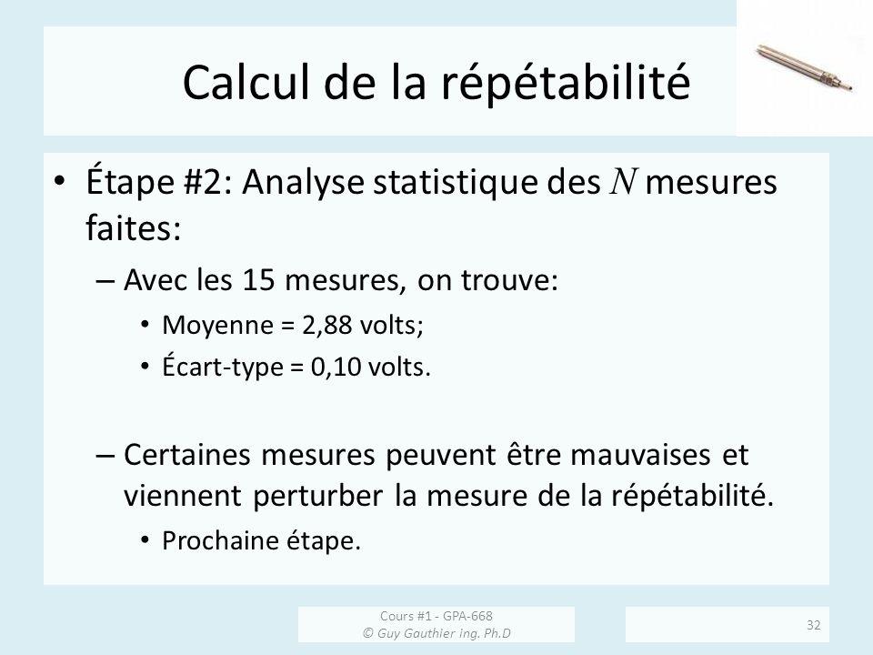 Calcul de la répétabilité Étape #2: Analyse statistique des N mesures faites: – Avec les 15 mesures, on trouve: Moyenne = 2,88 volts; Écart-type = 0,1