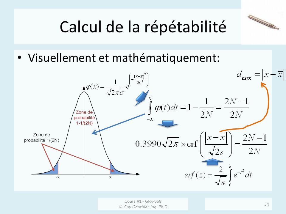Calcul de la répétabilité Visuellement et mathématiquement: Cours #1 - GPA-668 © Guy Gauthier ing. Ph.D 34