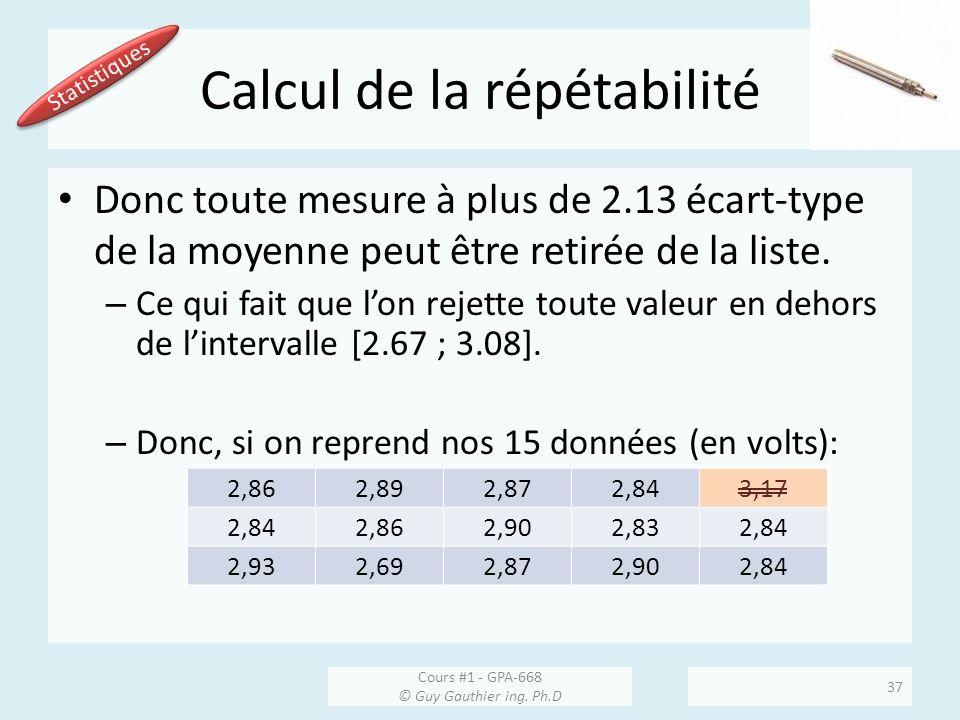 Calcul de la répétabilité Donc toute mesure à plus de 2.13 écart-type de la moyenne peut être retirée de la liste. – Ce qui fait que lon rejette toute
