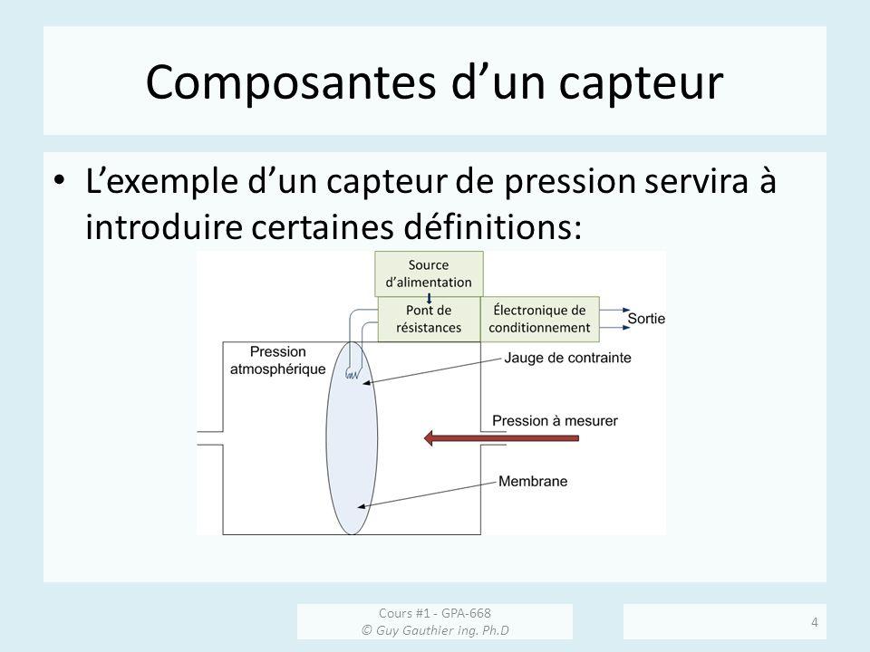 Composantes dun capteur Lexemple dun capteur de pression servira à introduire certaines définitions: Cours #1 - GPA-668 © Guy Gauthier ing. Ph.D 4