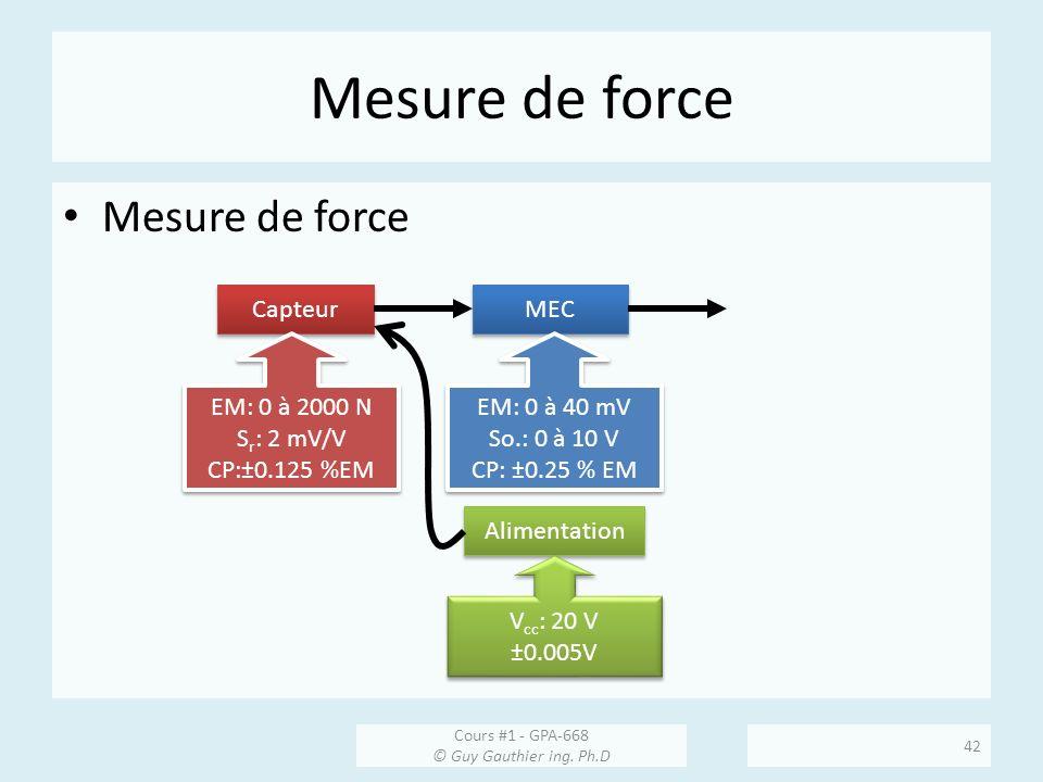 Mesure de force Capteur MEC EM: 0 à 2000 N S r : 2 mV/V CP:±0.125 %EM EM: 0 à 2000 N S r : 2 mV/V CP:±0.125 %EM EM: 0 à 40 mV So.: 0 à 10 V CP: ±0.25 % EM EM: 0 à 40 mV So.: 0 à 10 V CP: ±0.25 % EM Alimentation V cc : 20 V ±0.005V V cc : 20 V ±0.005V Cours #1 - GPA-668 © Guy Gauthier ing.