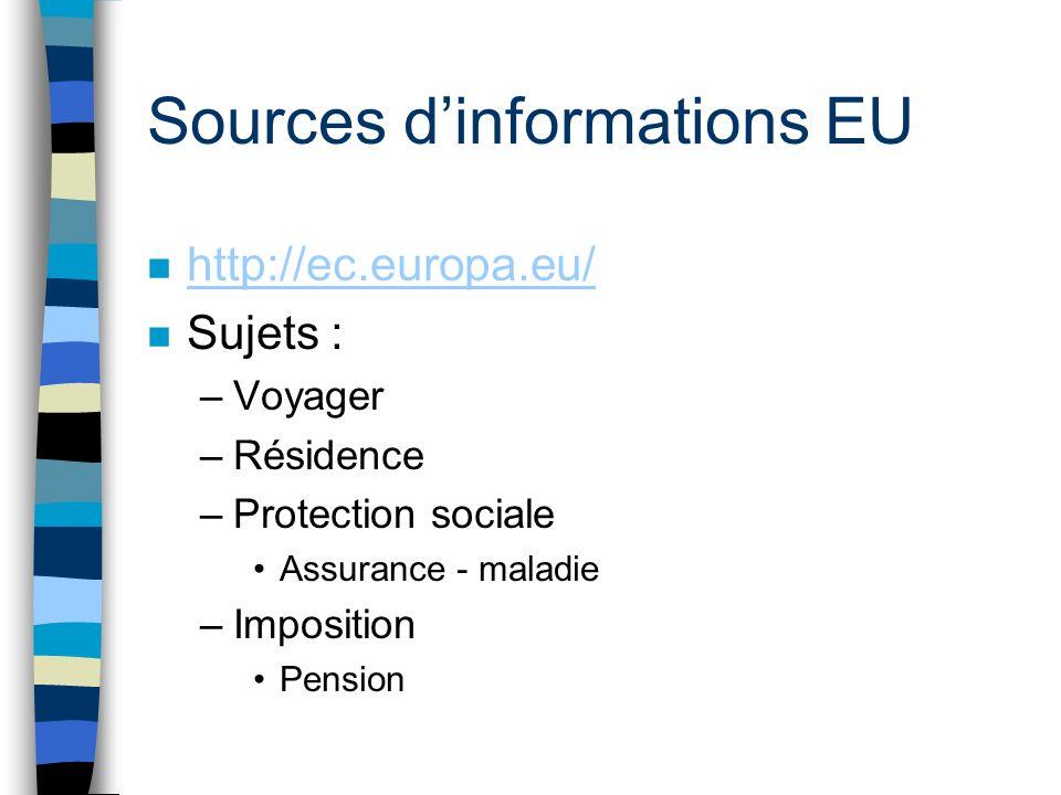 Sources dinformations EU n http://ec.europa.eu/ http://ec.europa.eu/ n Sujets : –Voyager –Résidence –Protection sociale Assurance - maladie –Imposition Pension