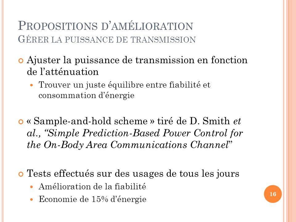 P ROPOSITIONS D AMÉLIORATION G ÉRER LA PUISSANCE DE TRANSMISSION Ajuster la puissance de transmission en fonction de latténuation Trouver un juste équ