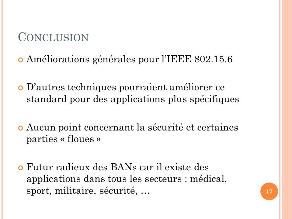 C ONCLUSION Améliorations générales pour lIEEE 802.15.6 Dautres techniques pourraient améliorer ce standard pour des applications plus spécifiques Auc