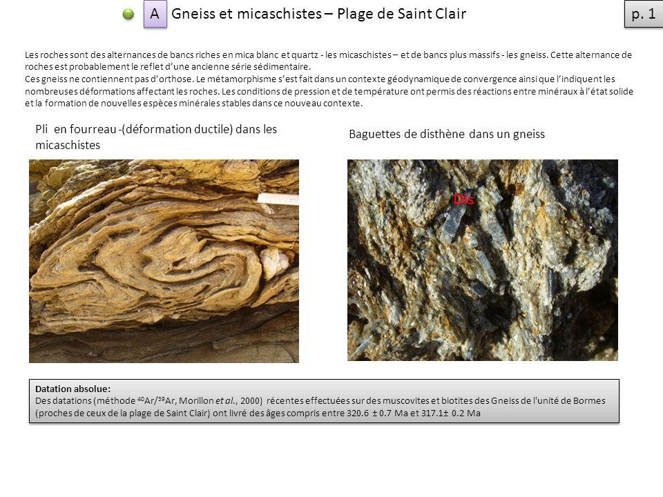 Gneiss et micaschistes – Plage de Saint Clair Les roches sont des alternances de bancs riches en mica blanc et quartz - les micaschistes – et de bancs plus massifs - les gneiss.