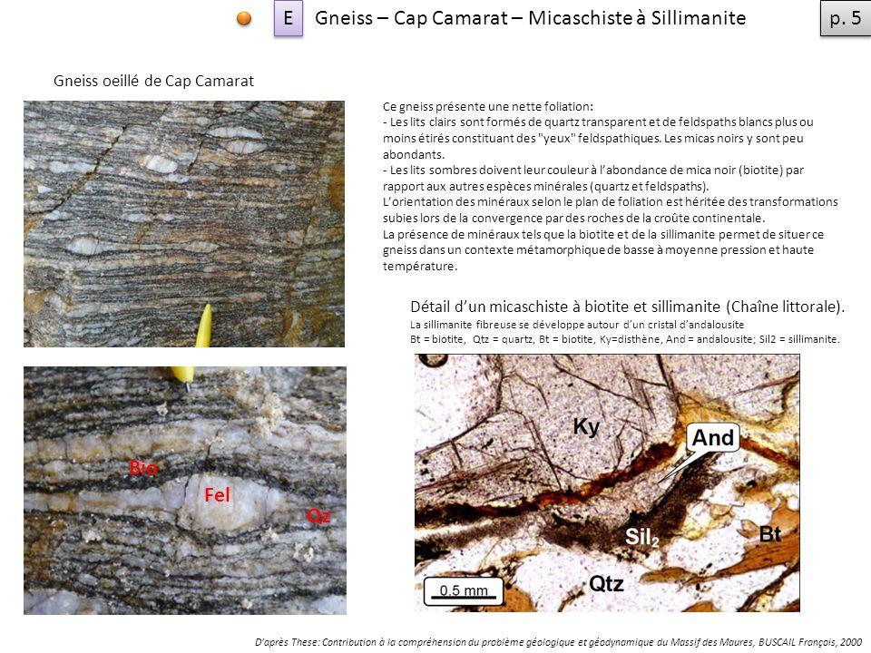 Gneiss – Cap Camarat – Micaschiste à Sillimanite Ce gneiss présente une nette foliation: - Les lits clairs sont formés de quartz transparent et de feldspaths blancs plus ou moins étirés constituant des yeux feldspathiques.