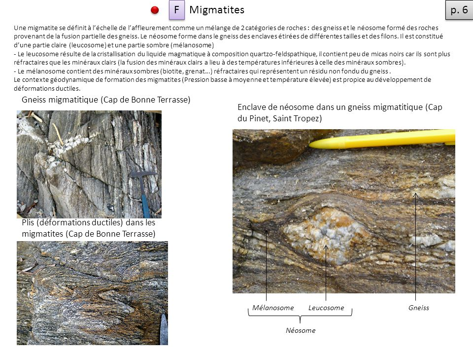Une migmatite se définit à léchelle de laffleurement comme un mélange de 2 catégories de roches : des gneiss et le néosome formé des roches provenant de la fusion partielle des gneiss.