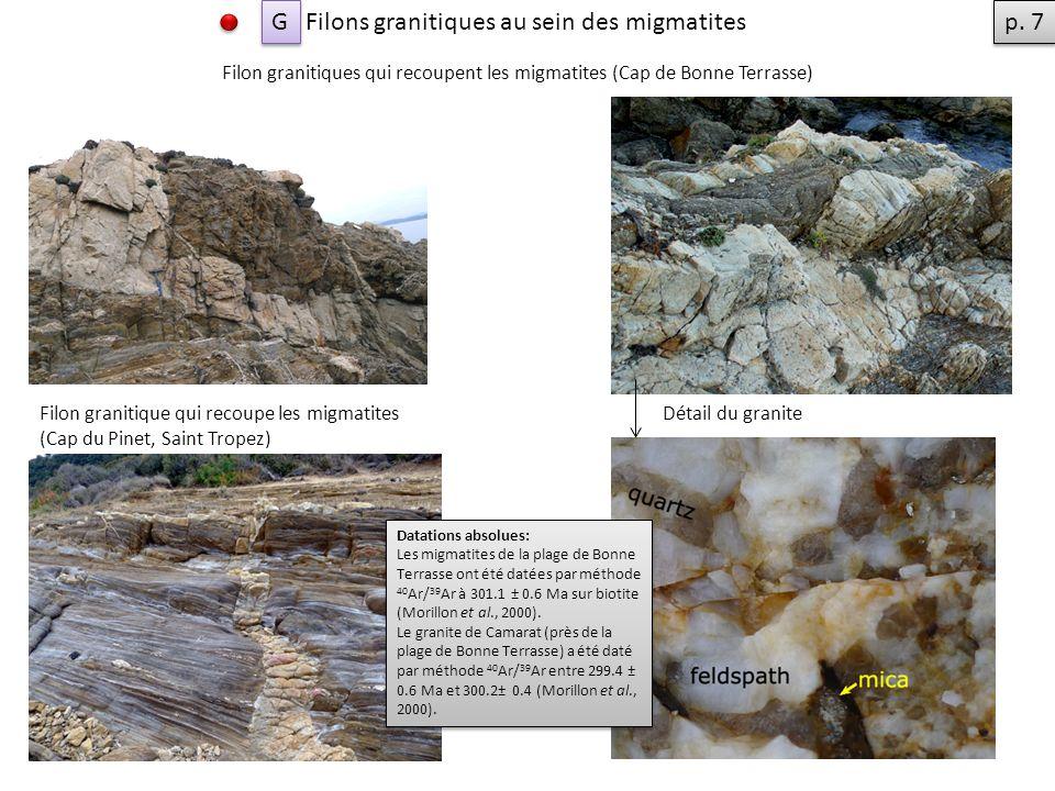Filon granitiques qui recoupent les migmatites (Cap de Bonne Terrasse) Filon granitique qui recoupe les migmatites (Cap du Pinet, Saint Tropez) Filons granitiques au sein des migmatites G G Détail du granite Datations absolues: Les migmatites de la plage de Bonne Terrasse ont été datées par méthode 40 Ar/ 39 Ar à 301.1 ± 0.6 Ma sur biotite (Morillon et al., 2000).