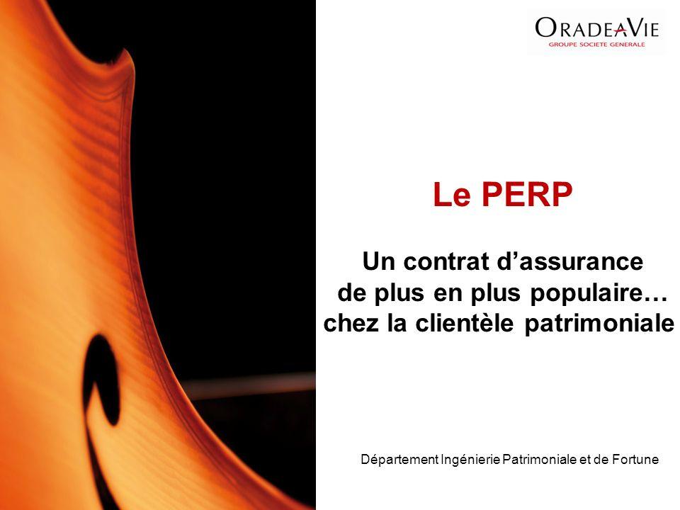 Département Ingénierie Patrimoniale et de Fortune Le PERP Un contrat dassurance de plus en plus populaire… chez la clientèle patrimoniale