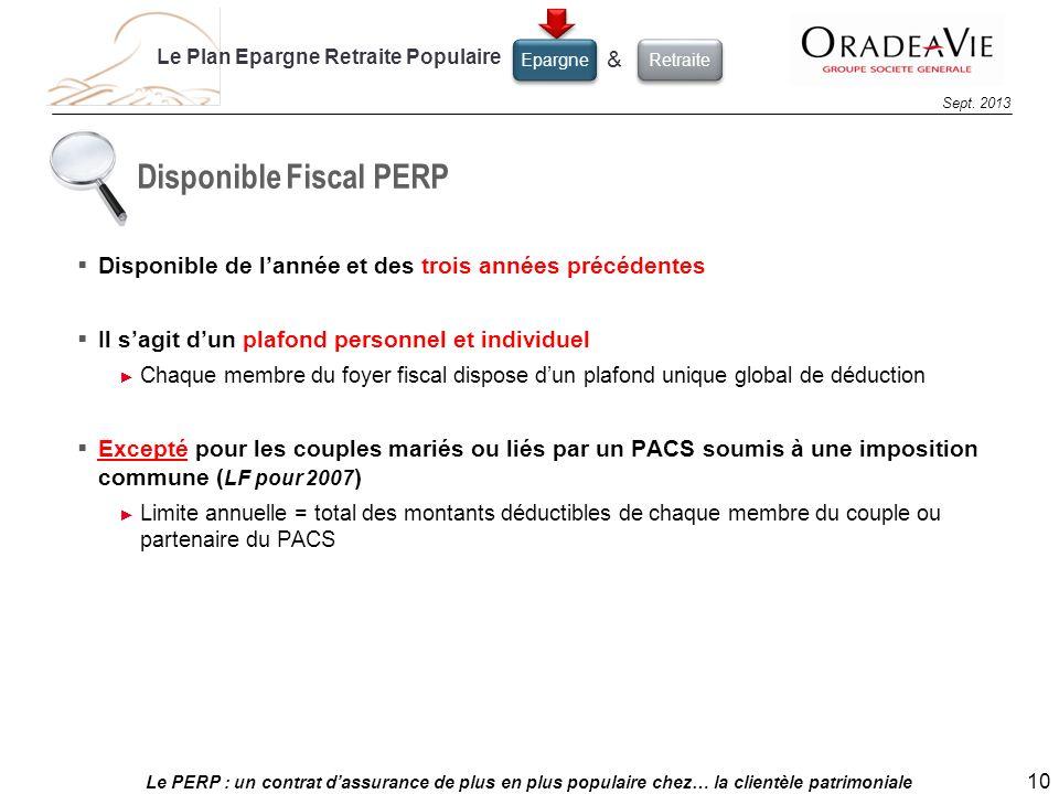 Le PERP : un contrat dassurance de plus en plus populaire chez… la clientèle patrimoniale 10 Sept. 2013 Disponible Fiscal PERP Disponible de lannée et