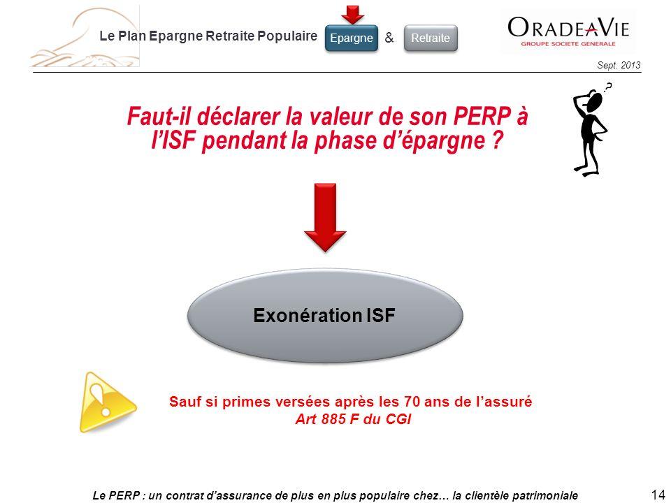 Le PERP : un contrat dassurance de plus en plus populaire chez… la clientèle patrimoniale 14 Sept. 2013 Sauf si primes versées après les 70 ans de las