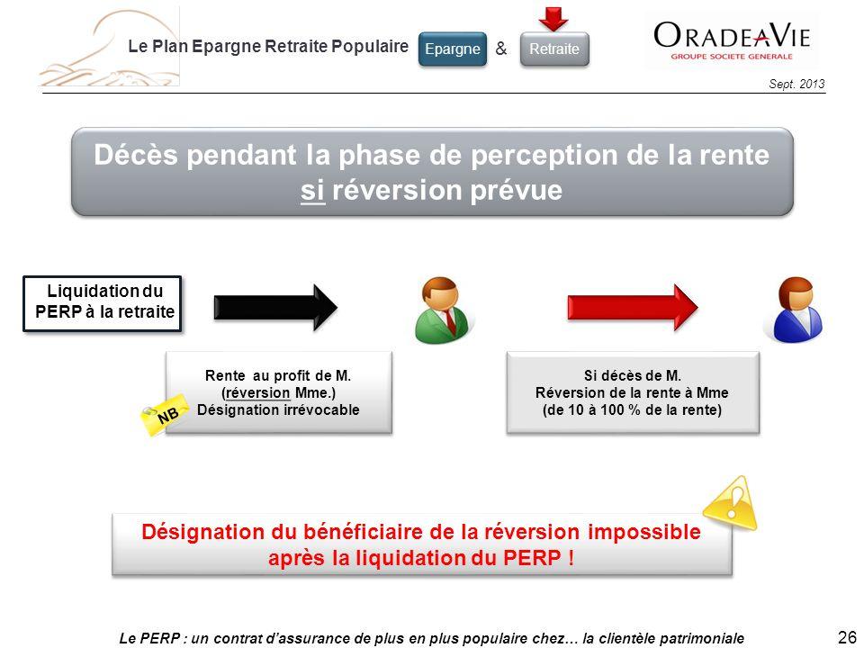 Le PERP : un contrat dassurance de plus en plus populaire chez… la clientèle patrimoniale 26 Sept. 2013 Décès pendant la phase de perception de la ren