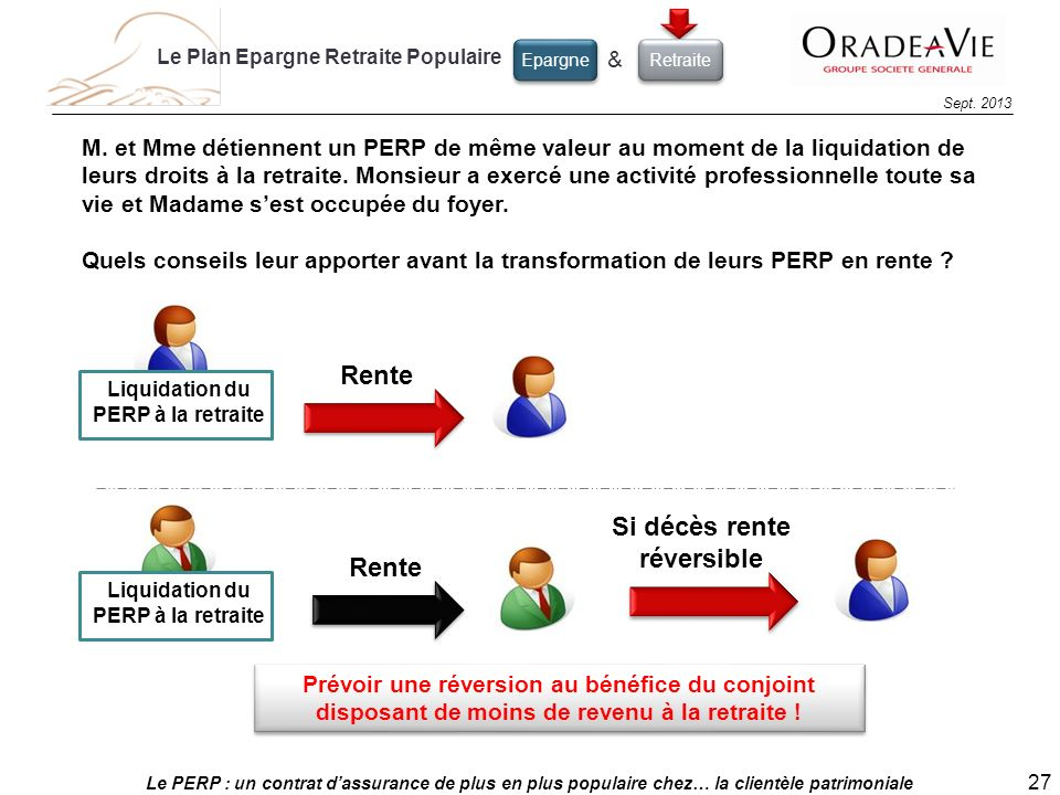 Le PERP : un contrat dassurance de plus en plus populaire chez… la clientèle patrimoniale 27 Sept. 2013 Liquidation du PERP à la retraite Rente Si déc