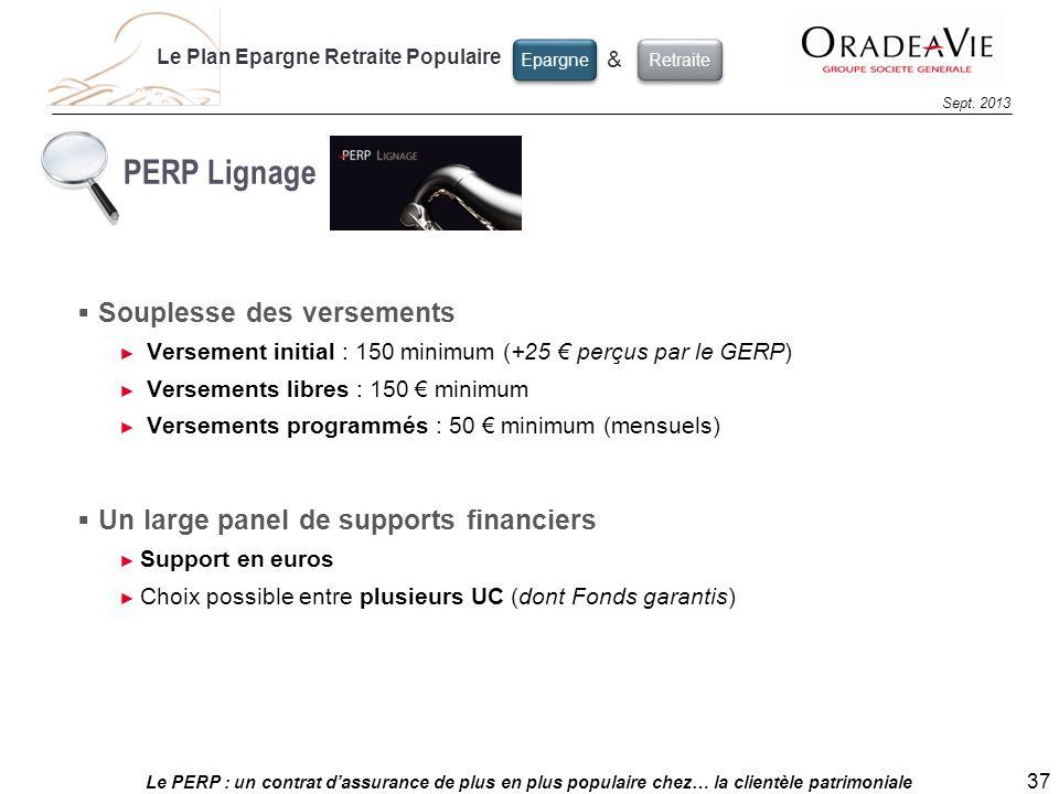 Le PERP : un contrat dassurance de plus en plus populaire chez… la clientèle patrimoniale 37 Sept. 2013 Le Plan Epargne Retraite Populaire Epargne & R