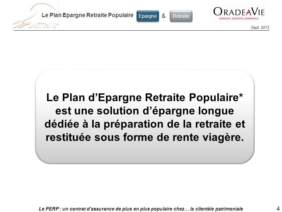 Le PERP : un contrat dassurance de plus en plus populaire chez… la clientèle patrimoniale 4 Sept. 2013 Le Plan dEpargne Retraite Populaire* est une so