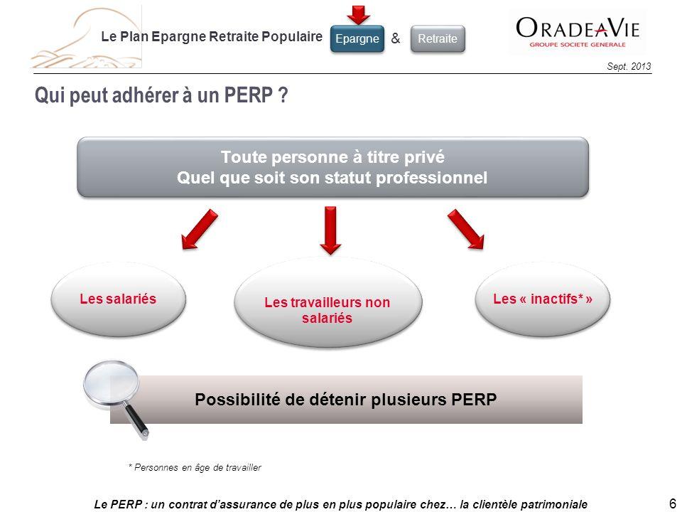 Le PERP : un contrat dassurance de plus en plus populaire chez… la clientèle patrimoniale 6 Sept. 2013 Qui peut adhérer à un PERP ? Toute personne à t