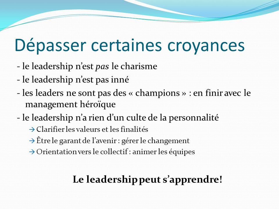 Dépasser certaines croyances - le leadership nest pas le charisme - le leadership nest pas inné - les leaders ne sont pas des « champions » : en finir
