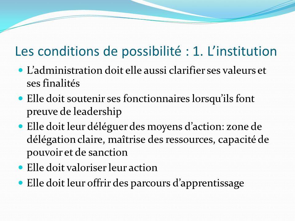 Les conditions de possibilité : 1. Linstitution Ladministration doit elle aussi clarifier ses valeurs et ses finalités Elle doit soutenir ses fonction