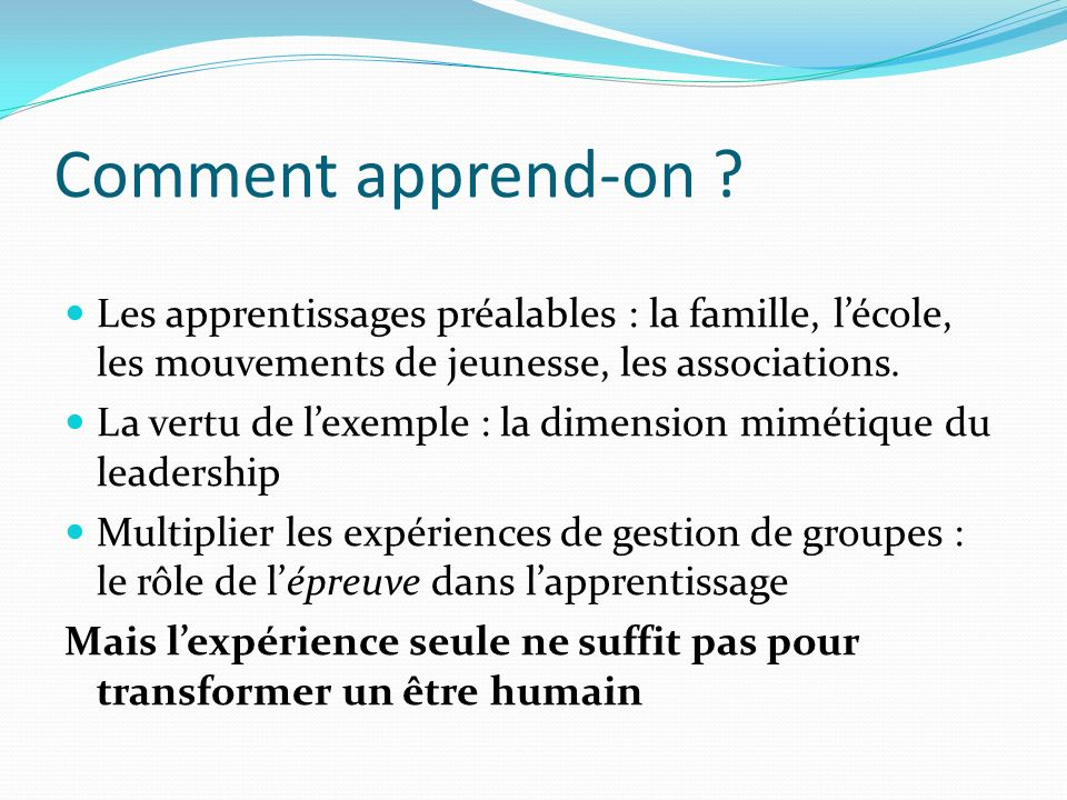 Comment apprend-on.
