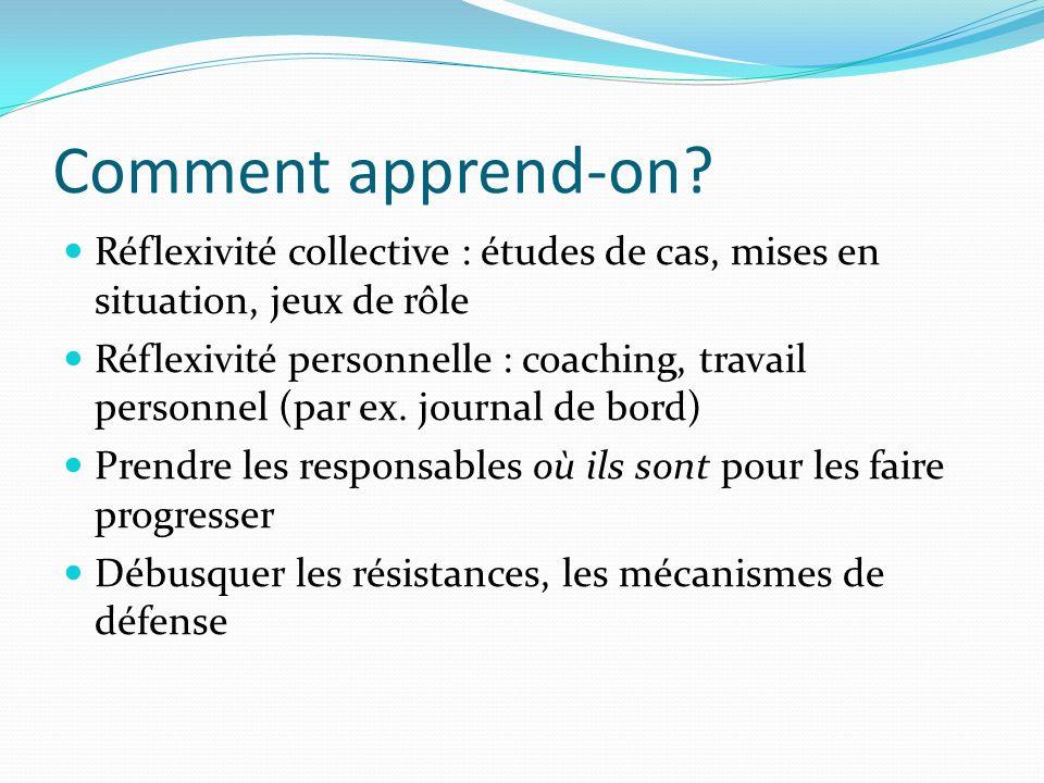 Comment apprend-on? Réflexivité collective : études de cas, mises en situation, jeux de rôle Réflexivité personnelle : coaching, travail personnel (pa