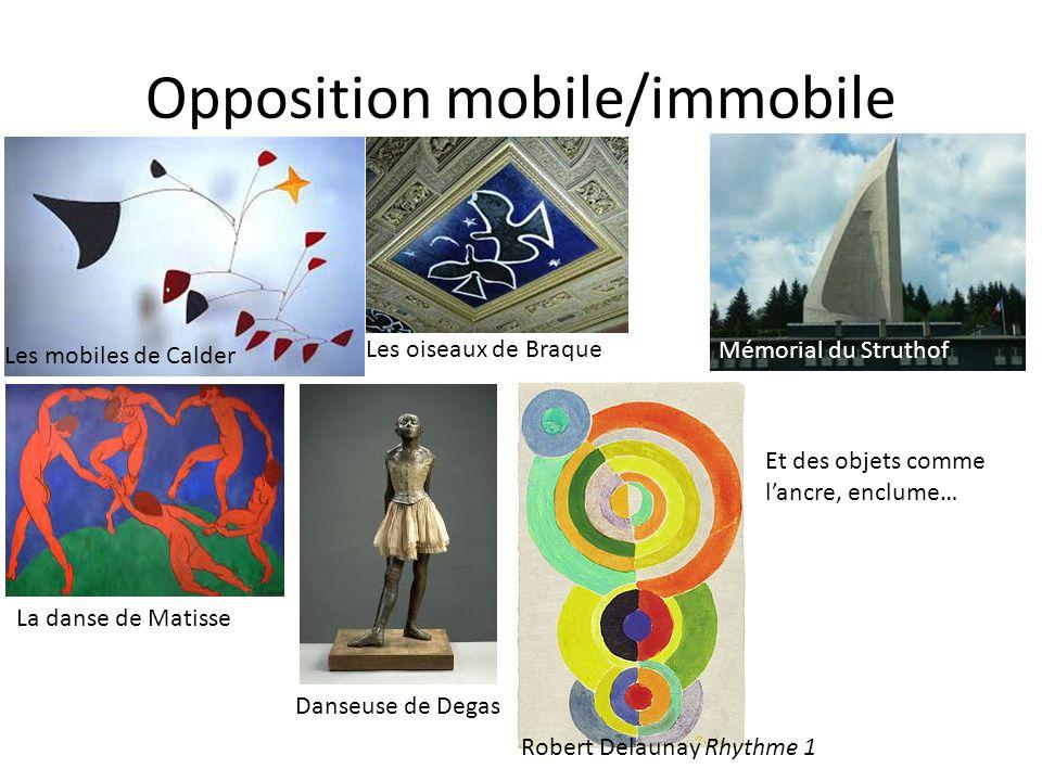 Opposition mobile/immobile Les mobiles de Calder Mémorial du Struthof La danse de Matisse Danseuse de Degas Les oiseaux de Braque Et des objets comme lancre, enclume… Robert Delaunay Rhythme 1