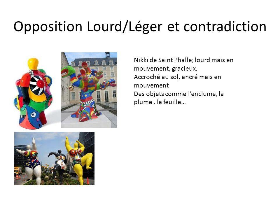 Opposition Lourd/Léger et contradiction Nikki de Saint Phalle; lourd mais en mouvement, gracieux. Accroché au sol, ancré mais en mouvement Des objets