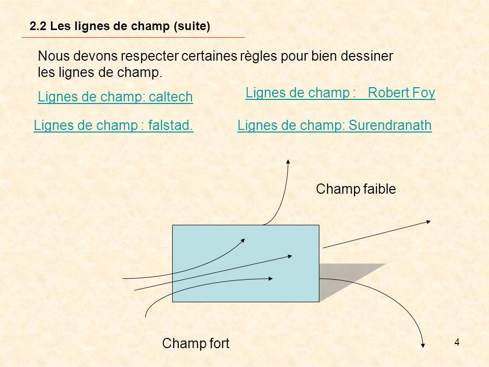4 Nous devons respecter certaines règles pour bien dessiner les lignes de champ. Lignes de champ : Robert Foy Champ fort Champ faible Lignes de champ: