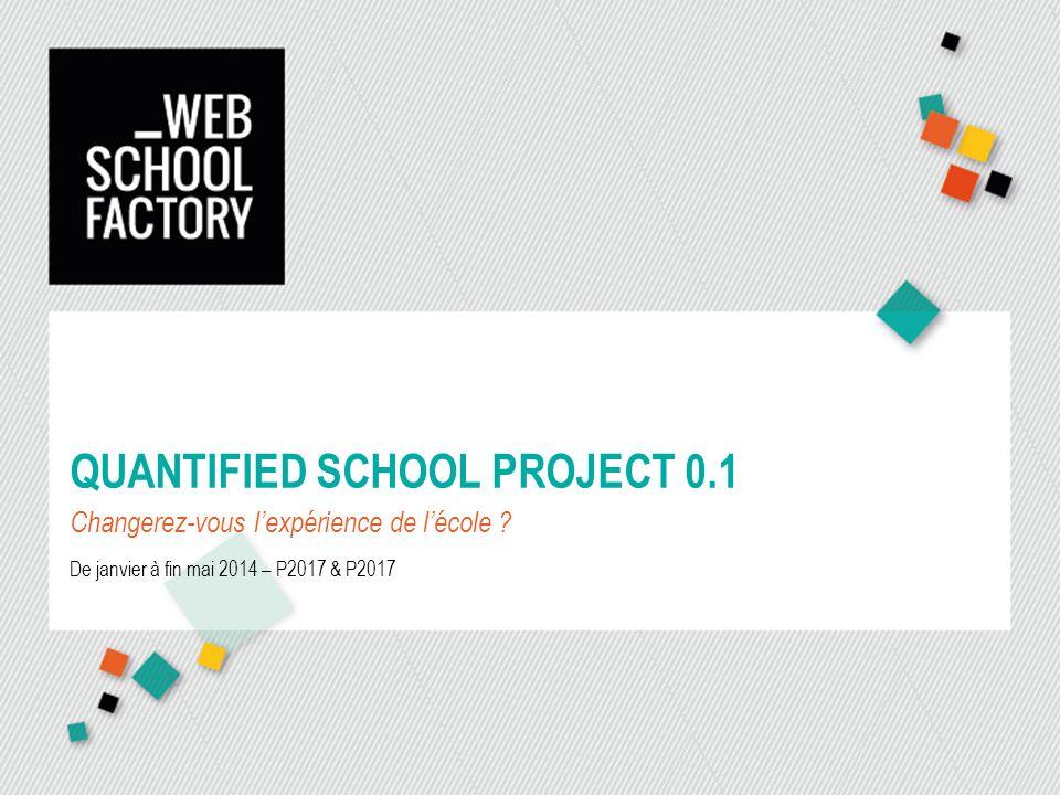 QUANTIFIED SCHOOL PROJECT 0.1 Changerez-vous lexpérience de lécole ? De janvier à fin mai 2014 – P2017 & P2017