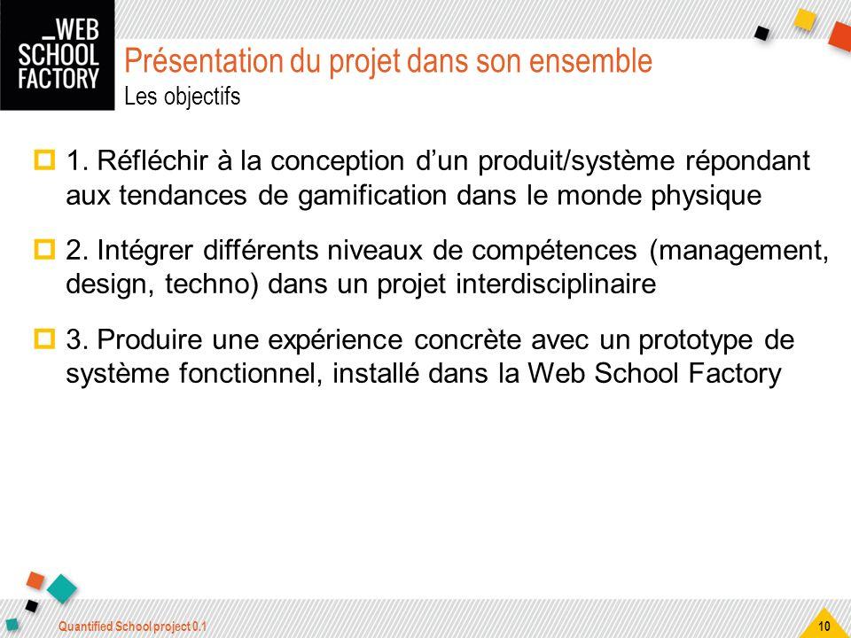 Présentation du projet dans son ensemble Les objectifs 1. Réfléchir à la conception dun produit/système répondant aux tendances de gamification dans l