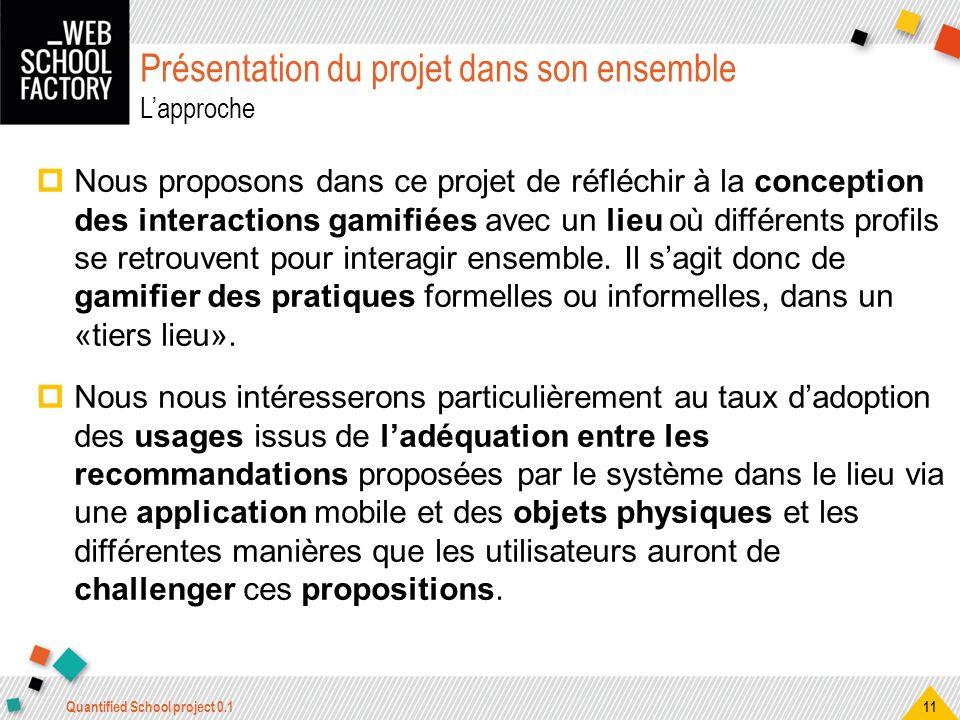 Présentation du projet dans son ensemble Lapproche Nous proposons dans ce projet de réfléchir à la conception des interactions gamifiées avec un lieu
