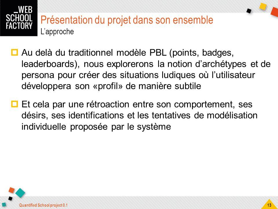 Présentation du projet dans son ensemble Lapproche Au delà du traditionnel modèle PBL (points, badges, leaderboards), nous explorerons la notion darch