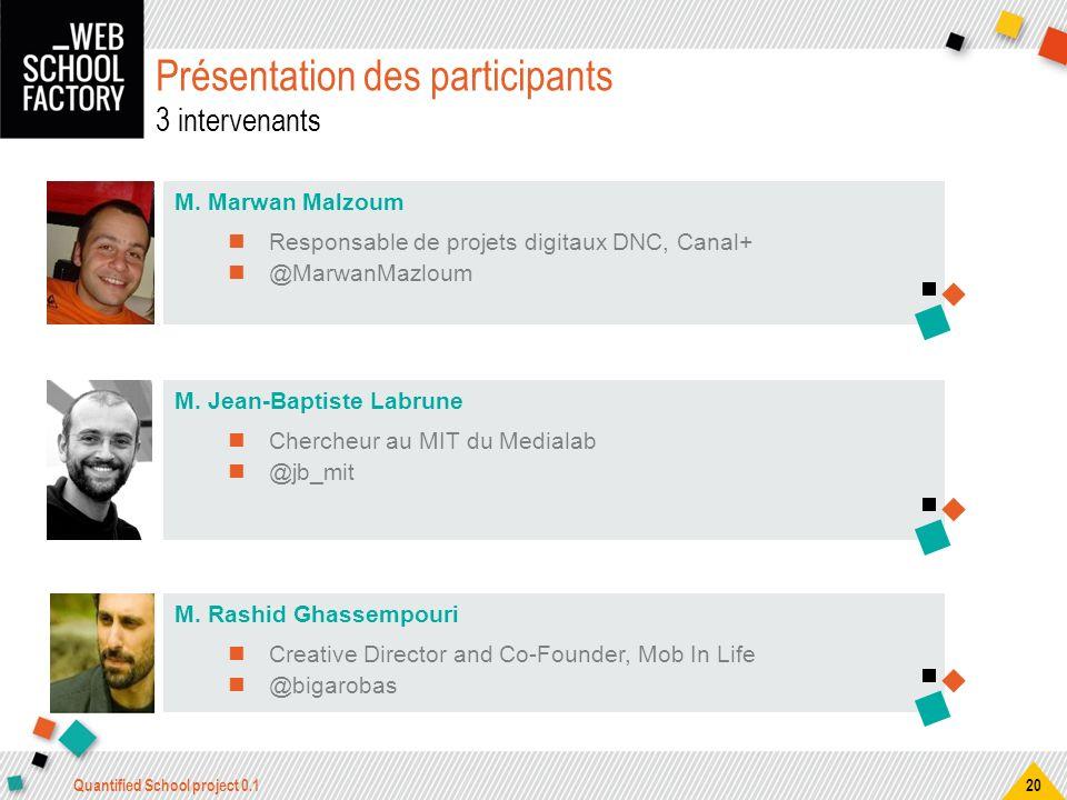 Présentation des participants 3 intervenants M. Marwan Malzoum Responsable de projets digitaux DNC, Canal+ @MarwanMazloum M. Jean-Baptiste Labrune Che