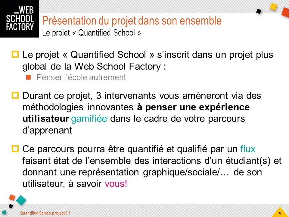 Présentation du projet dans son ensemble Le projet « Quantified School » Le projet « Quantified School » sinscrit dans un projet plus global de la Web