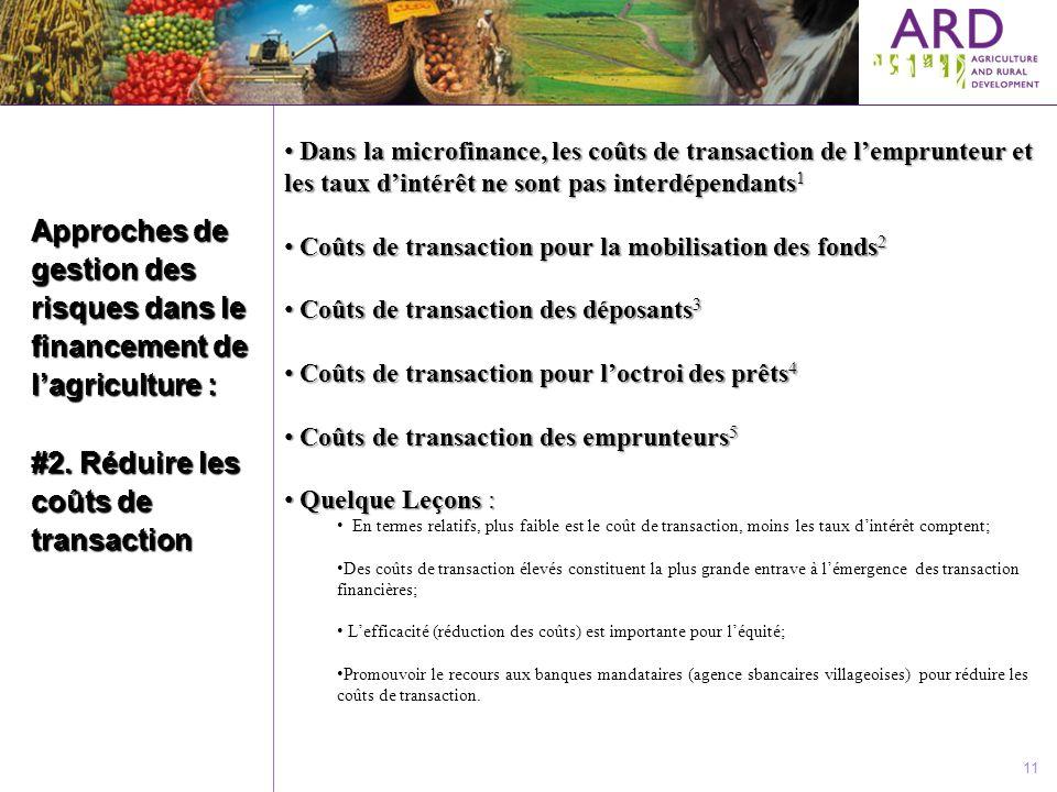 Approches de gestion des risques dans le financement de lagriculture : #2. Réduire les coûts de transaction 11 Dans la microfinance, les coûts de tran