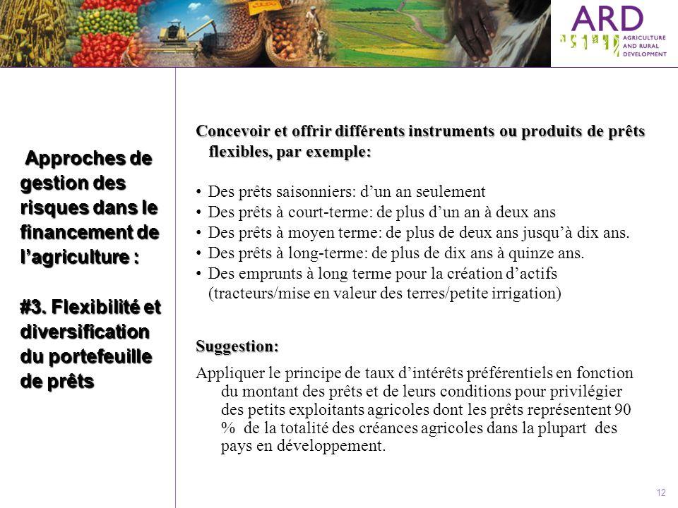 12 Approches de gestion des risques dans le financement de lagriculture : #3. Flexibilité et diversification du portefeuille de prêts Approches de ges
