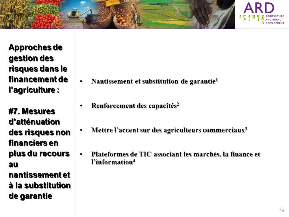 Approches de gestion des risques dans le financement de lagriculture : #7. Mesures datténuation des risques non financiers en plus du recours au nanti