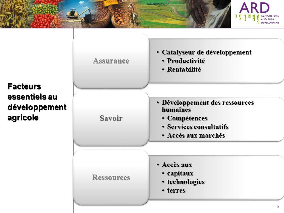 5 Facteurs essentiels au développement agricole Catalyseur de développementCatalyseur de développement ProductivitéProductivité RentabilitéRentabilité