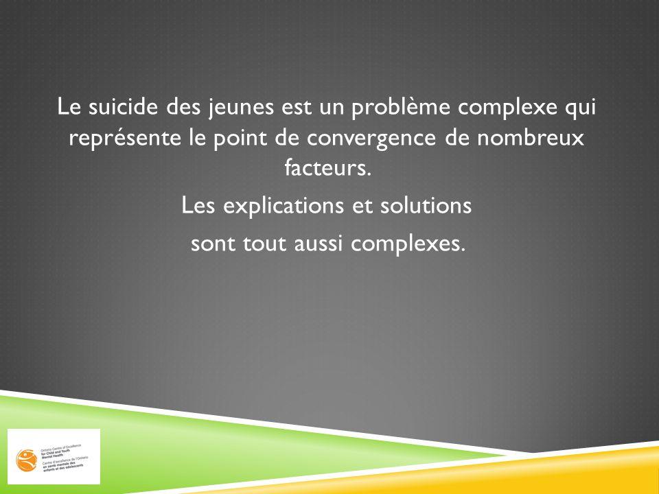 Le suicide des jeunes est un problème complexe qui représente le point de convergence de nombreux facteurs. Les explications et solutions sont tout au