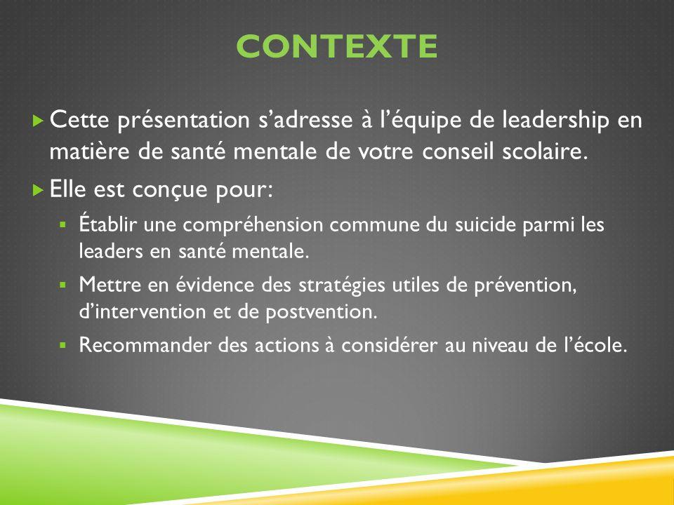 CONTEXTE Cette présentation sadresse à léquipe de leadership en matière de santé mentale de votre conseil scolaire. Elle est conçue pour: Établir une