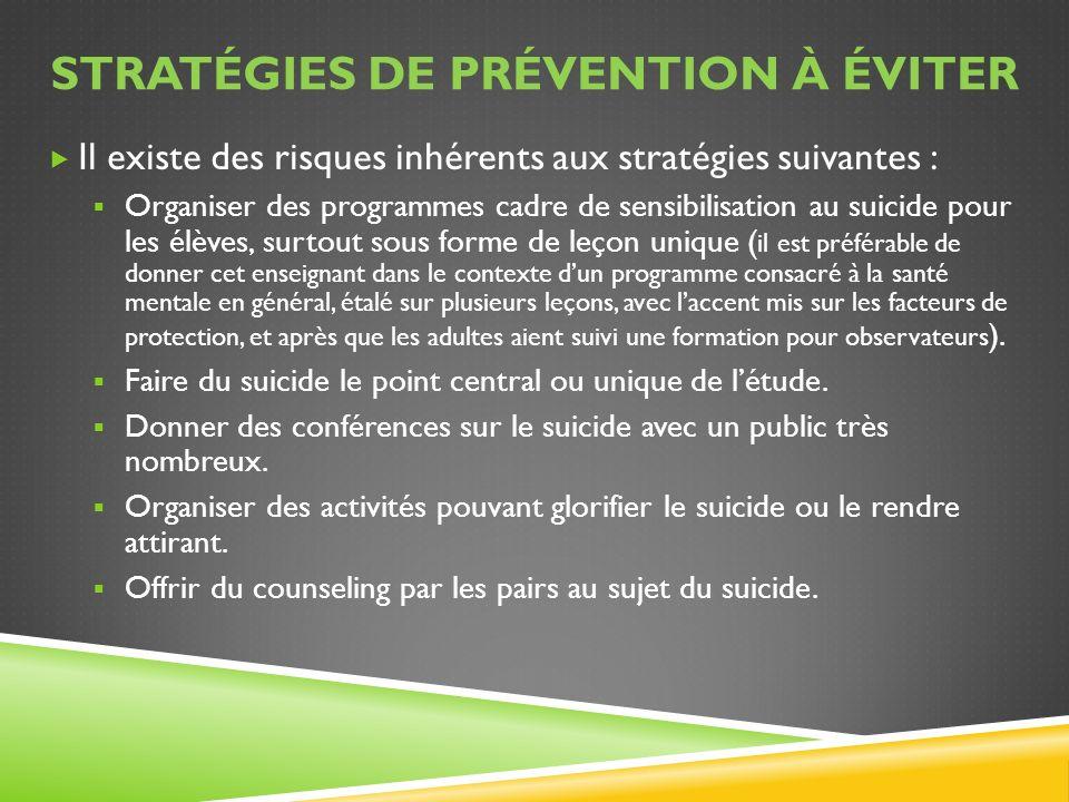STRATÉGIES DE PRÉVENTION À ÉVITER Il existe des risques inhérents aux stratégies suivantes : Organiser des programmes cadre de sensibilisation au suic