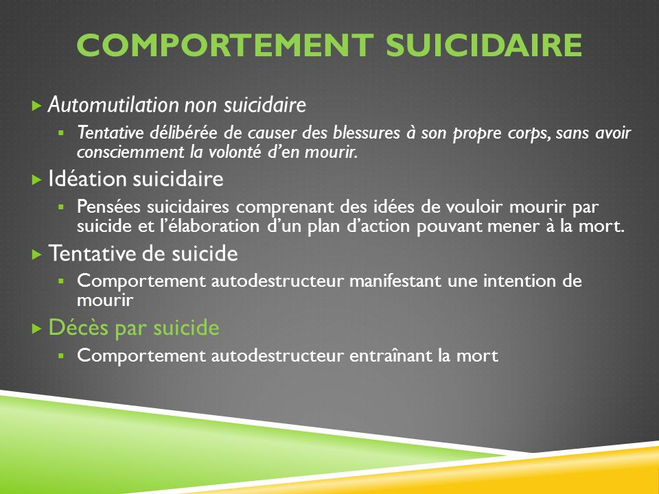 RESSOURCES ET REMERCIEMENTS Sous-groupe des leaders en santé mentale sur le suicide Ian Manion, Centre dexcellence de lOntario en santé mentale des enfants et des adolescents Ian Brown, Équipe dappui pour la santé mentale dans les écoles Stephan Roggenbaum et Katherine Lazear, University of South Florida Ressources clés : SAMHSA Toolkit, Suicide Postvention Guidelines South Australia, Principal Leadership 2009, NASP Postvention Strategies for School Personnel, Kutcher 2008