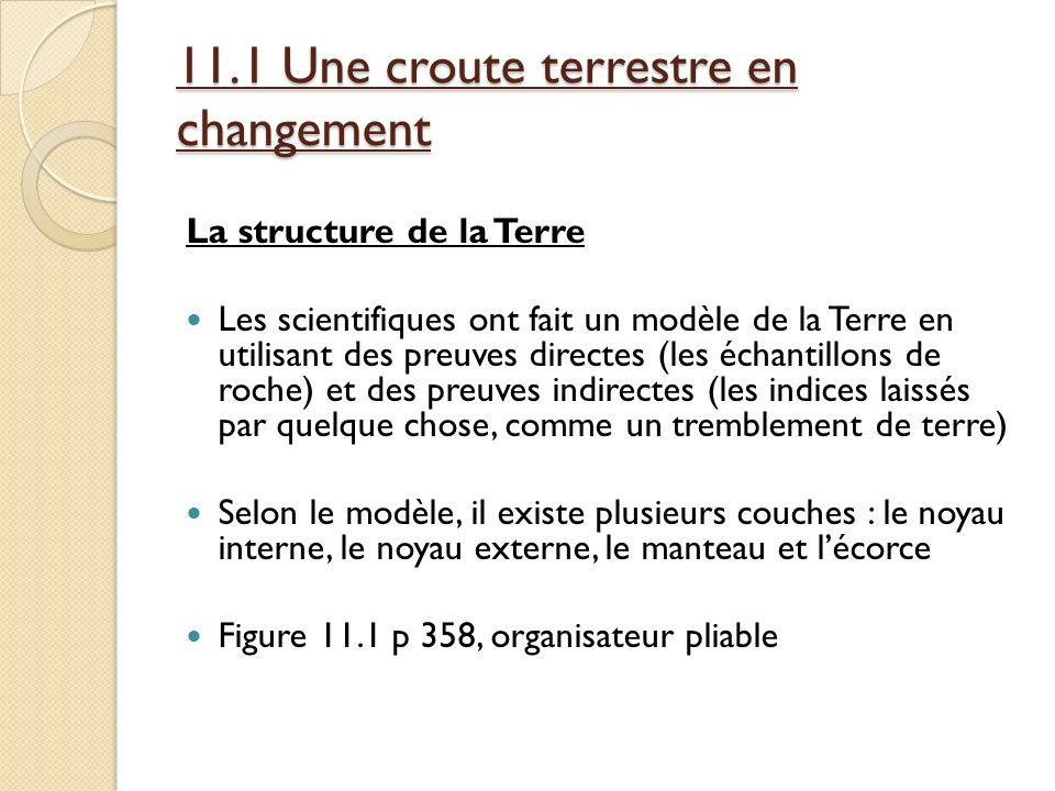 11.1 Une croute terrestre en changement La structure de la Terre Les scientifiques ont fait un modèle de la Terre en utilisant des preuves directes (l
