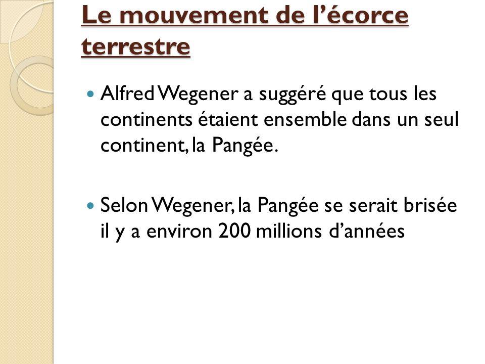 Le mouvement de lécorce terrestre Alfred Wegener a suggéré que tous les continents étaient ensemble dans un seul continent, la Pangée. Selon Wegener,