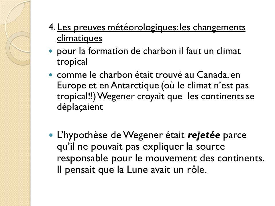 4. Les preuves météorologiques: les changements climatiques pour la formation de charbon il faut un climat tropical comme le charbon était trouvé au C